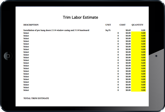 Estimate Trim Labor for Home Builders and Home Contractors. Builder Estimating Spreadsheet and Tool