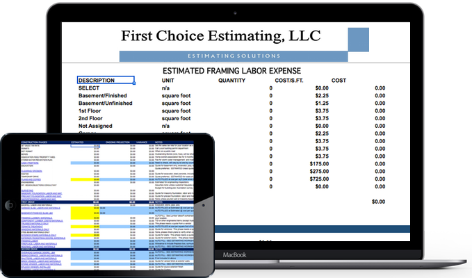 First Choice Estimating Home Construction Estimation Tools - Estimating columns, posts, base, capital, front porch, back porch, deck, covered deck, screened, enclosure, composite decking, salt treated, pressure treated, first floor, second floor, third floor, attic, unfinished, finished, storage, bonus room, bedroom, master bedroom, master suit, bath, master bath, cabinets, vanity, lavatory, sink, laundry tub, laundry, utility, room, study, parlor, family room, great room, kitchen, nook, design, skylight, windows, doors, exterior doors, interiors doors, patio doors, French doors, transom, fixed glass, fenestration, carpet, vinyl, hardwood, engineered wood, laminate, flooring, and vinyl.